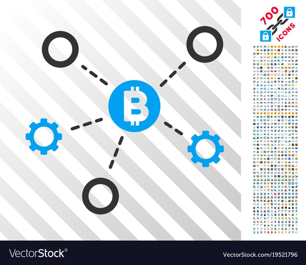 Bitcoin network nodes flat icon with bonus vector image