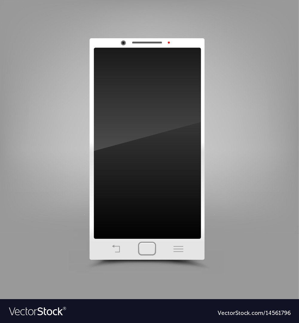 White smartphone gray background vector image
