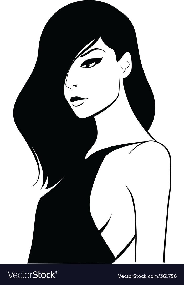 Woman with long dark hair vector image