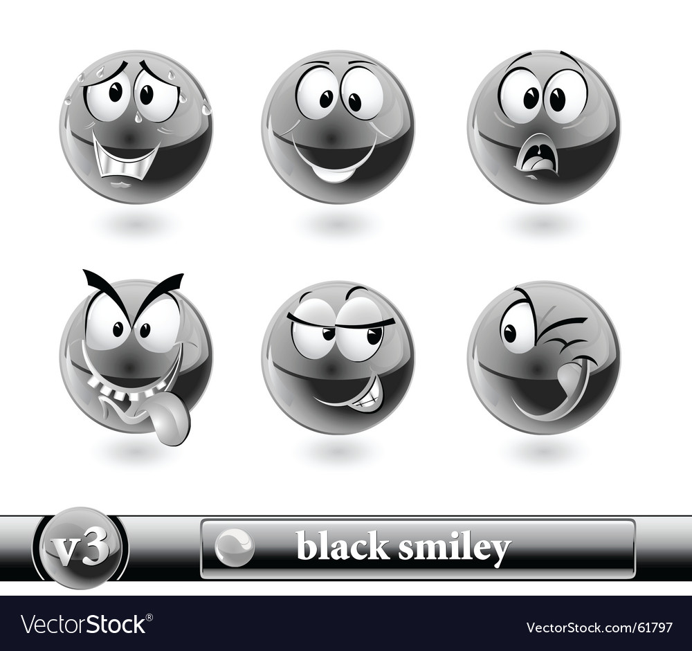 Black smiley Vector Image