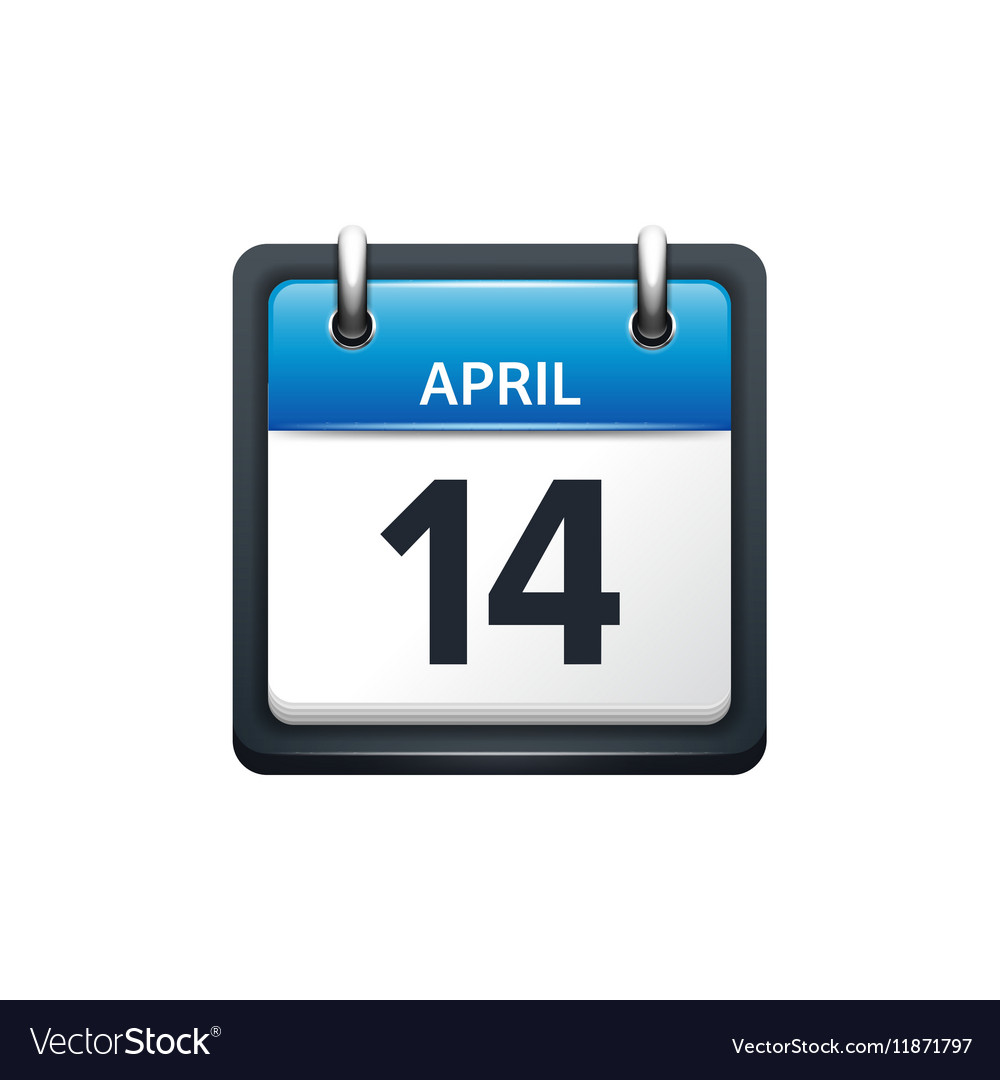 April 14 Calendar icon flat vector image