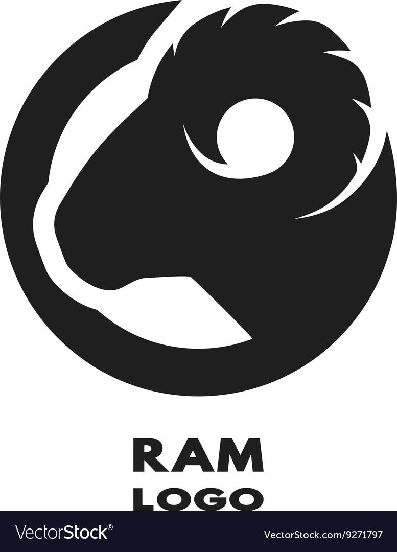 Silhouette of the ram monochrome logo vector image