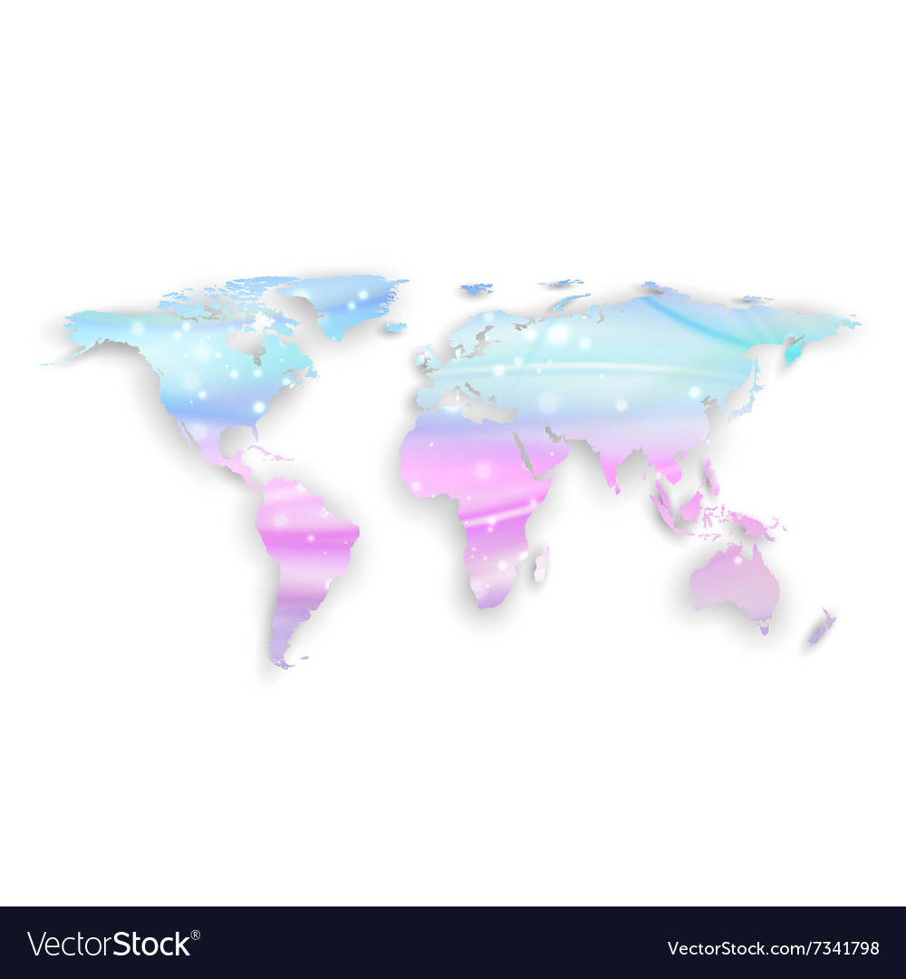Beautiful world map with shadow on white vector image gumiabroncs Gallery