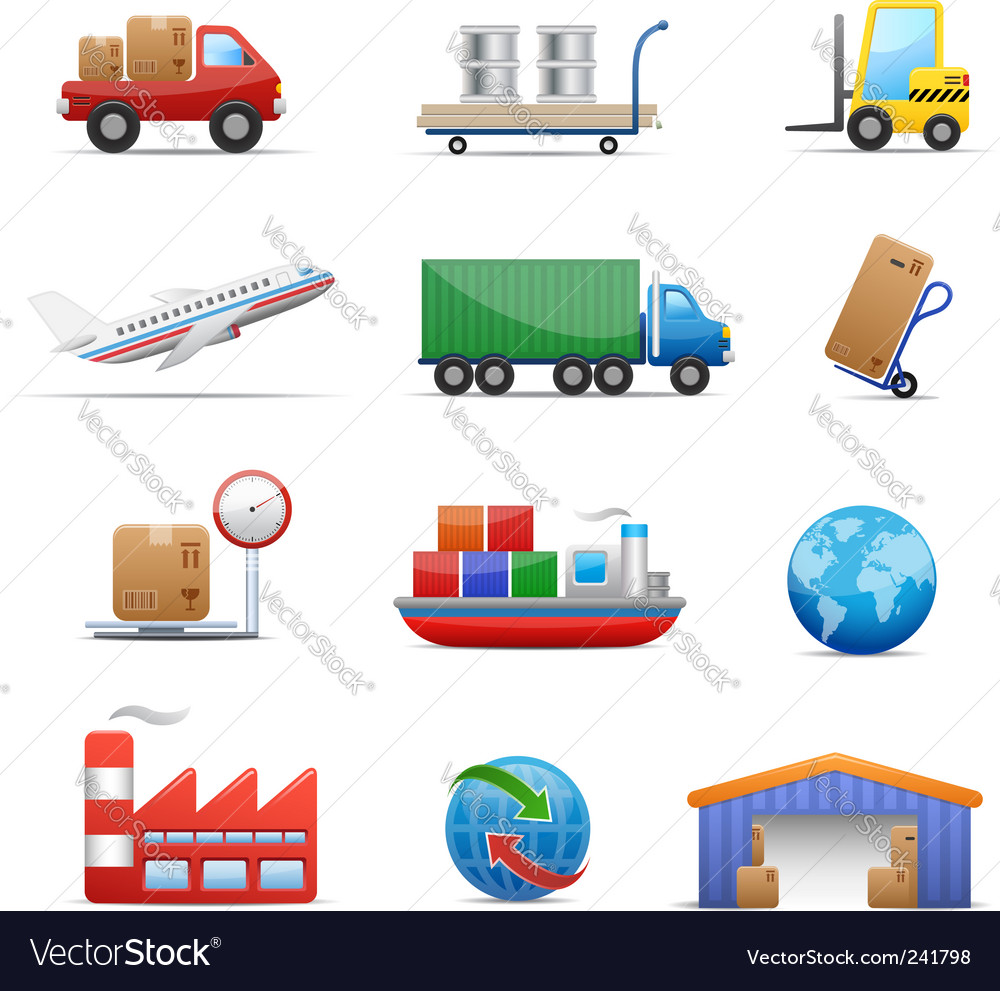 Industry logistics icon set vector image