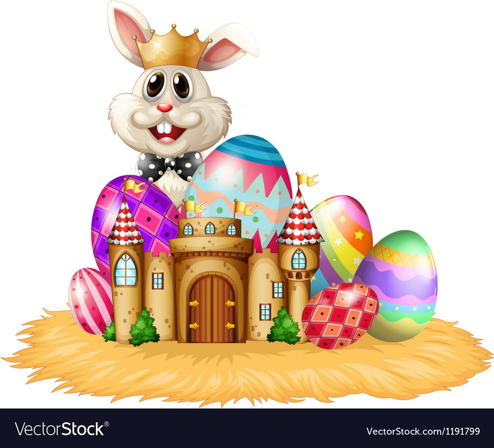 A king bunny with easter eggs vector image