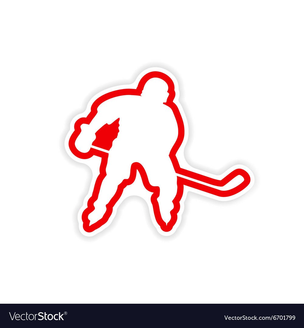 Paper sticker Canadian hockey player on white
