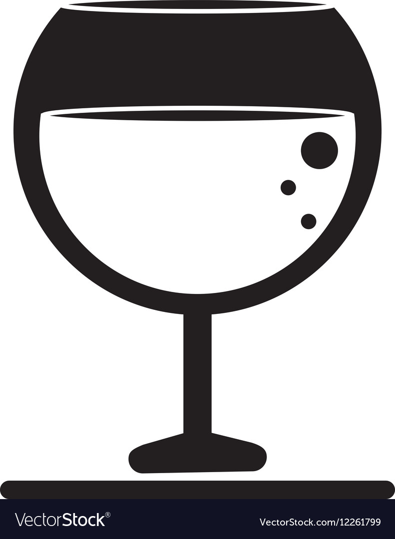 Silhouette glass brandy beverage alcohol vector image