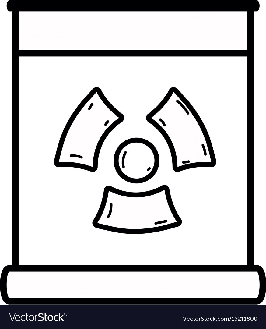 Line poster with radiation symbol of danger vector image