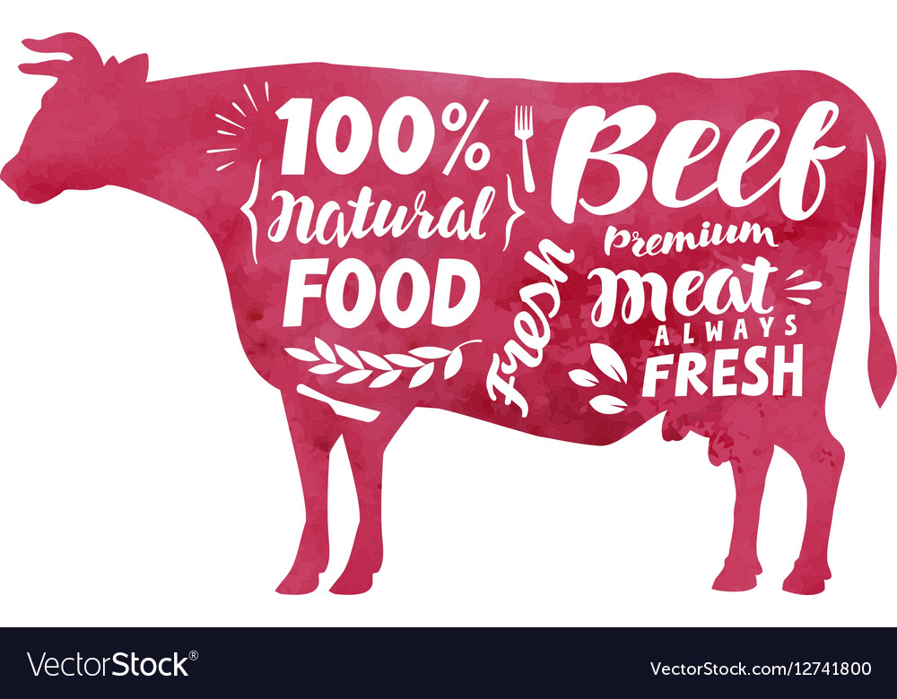 Meat fresh beef label Silhouette cow vector image