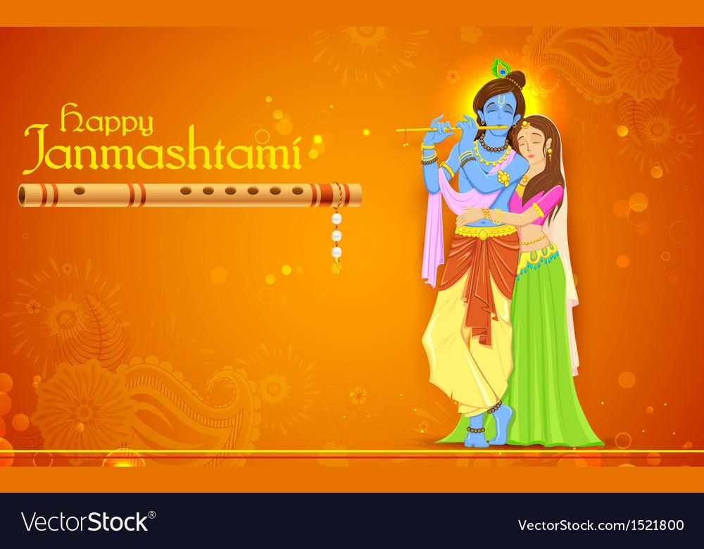 Radha and Lord Krishna on Janmashtami vector image