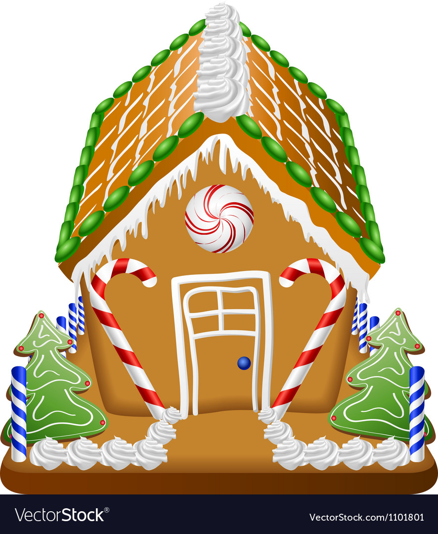 Gingerbread house with candies vector image