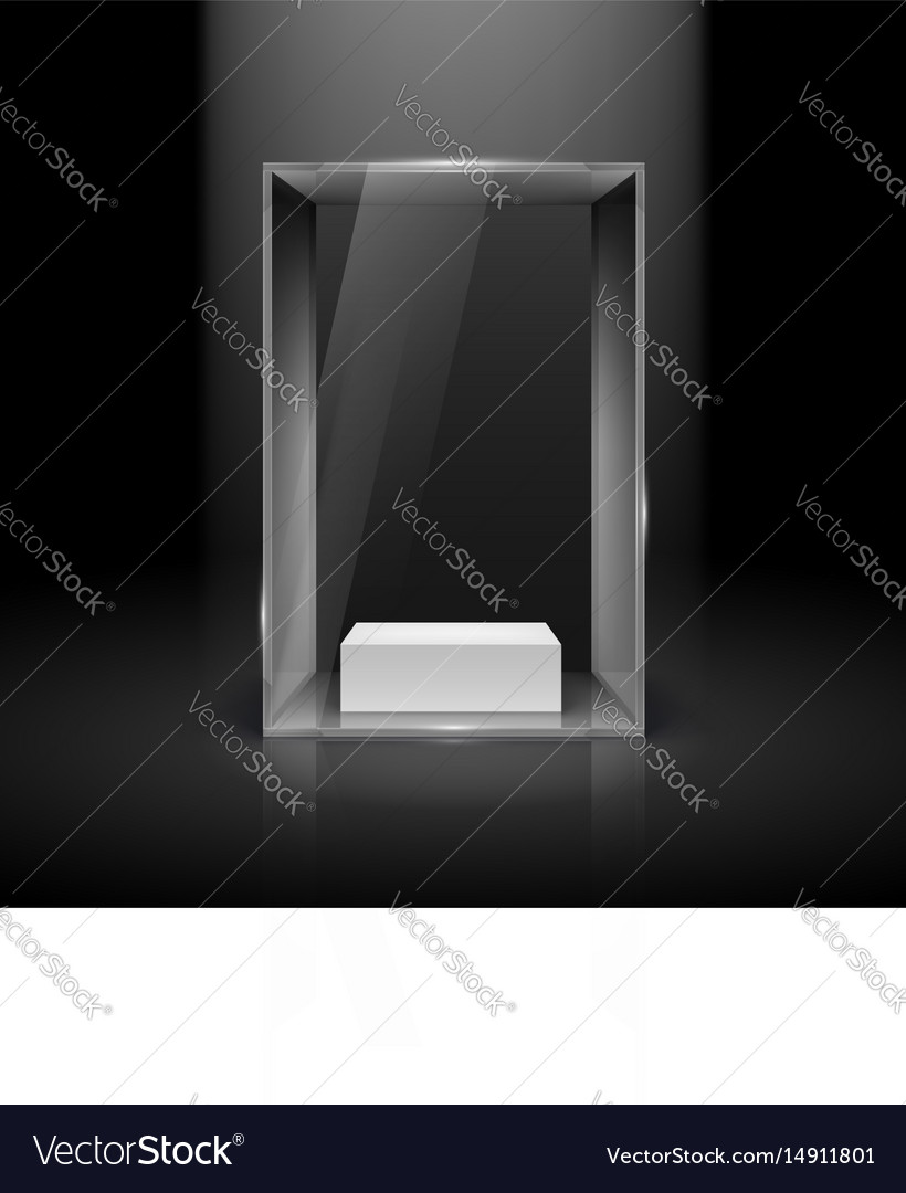 Glass showcase with spot light for presentation vector image