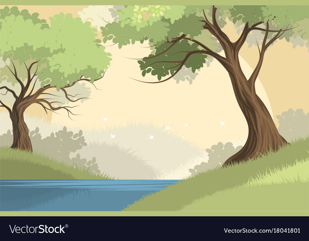 Lake and forest scene