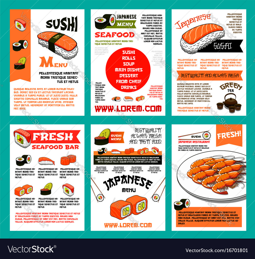 Sushi menu template set for japanese food design vector image sushi menu template set for japanese food design vector image pronofoot35fo Gallery