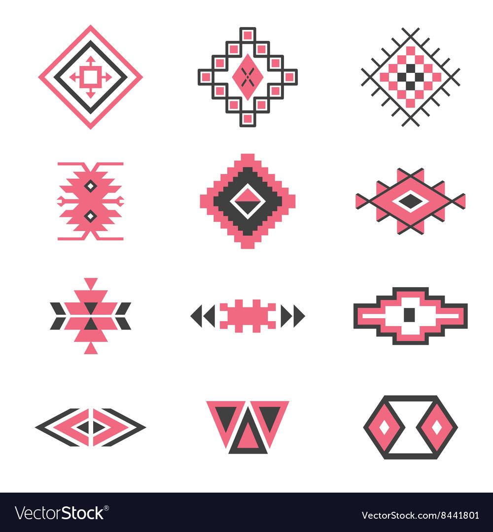 Symbols tribal design Ethnic motif Boho vector image
