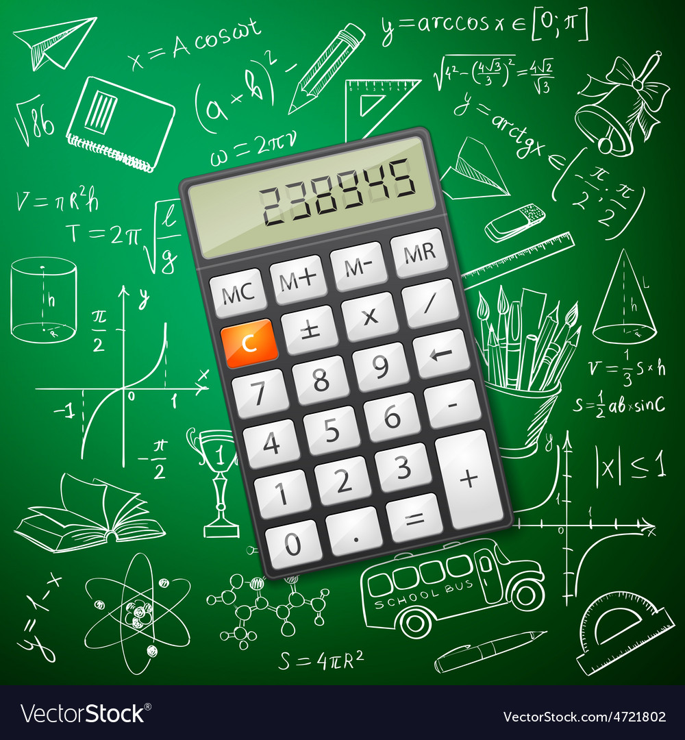 Mathematics hand drawing with a calculator vector image