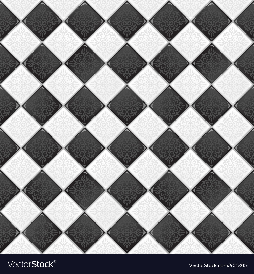 Black and white tile Royalty Free Vector Image