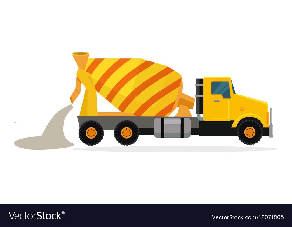 Concrete Mixing Truck in Flat Design vector image