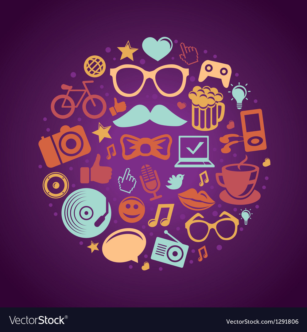 Round concept with trendy hipster icons and signs vector image