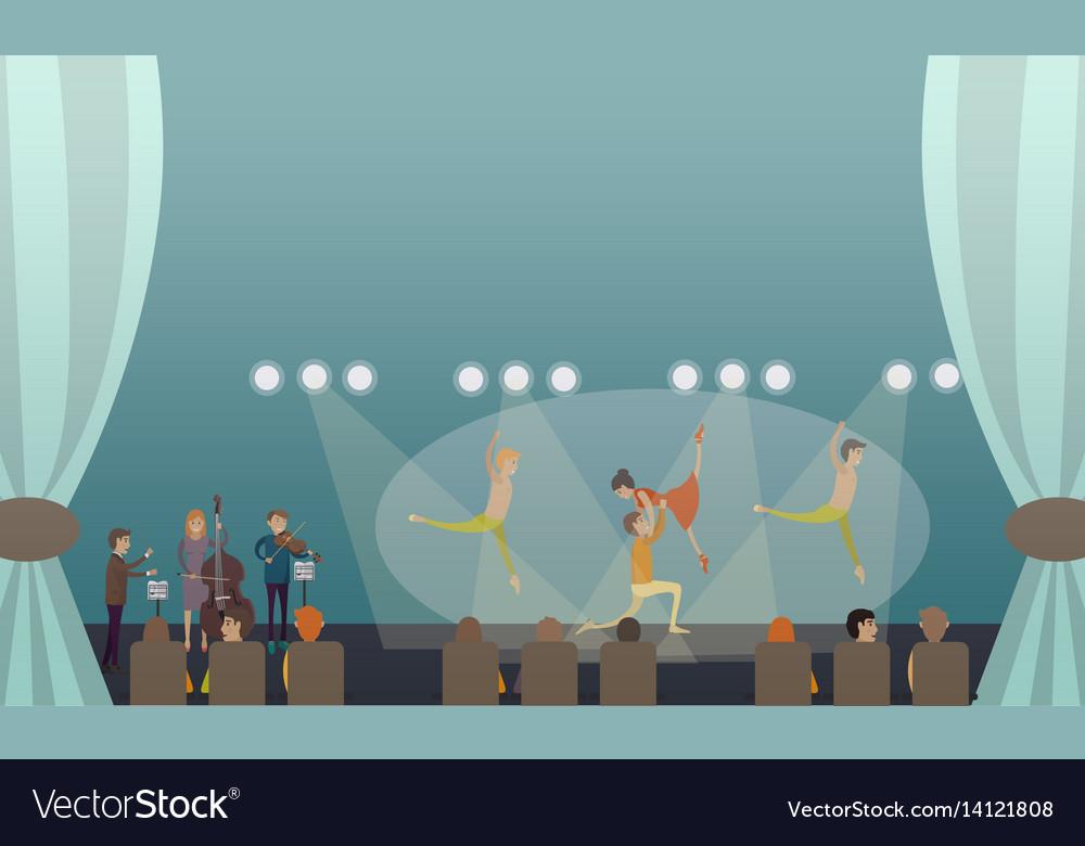 Dancing ballet performance in vector image