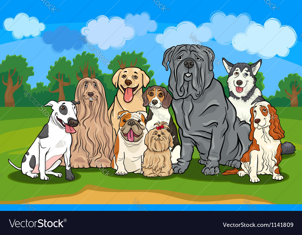 Purebred dogs group cartoon vector image
