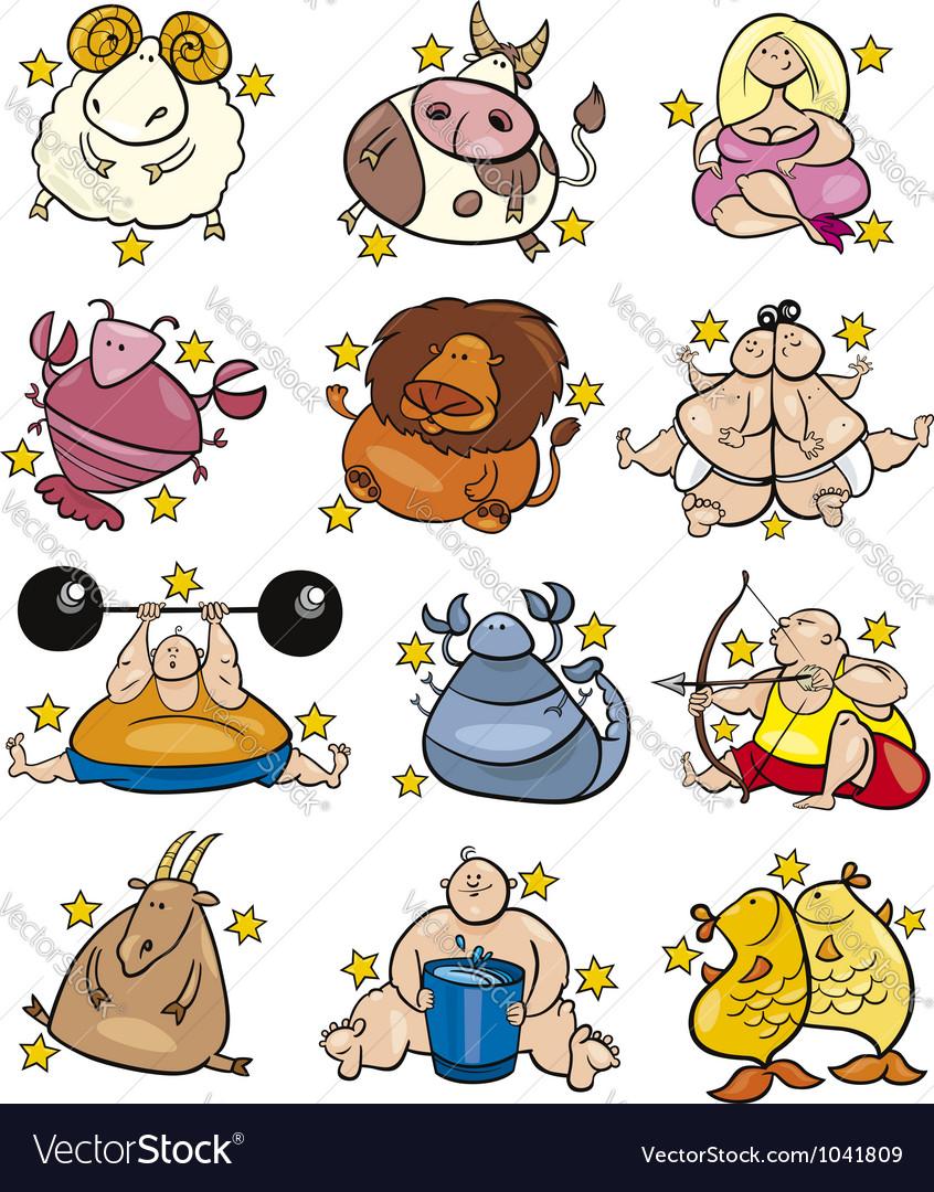 Overweight cartoon zodiac signs vector image