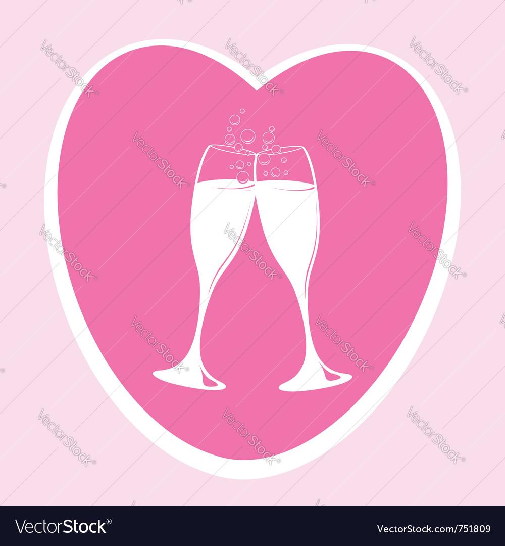 Pink love heart vector image