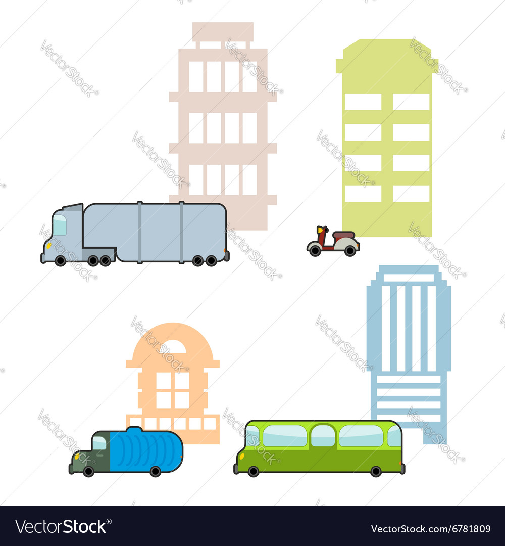 Set Municipal transport and public buildings vector image