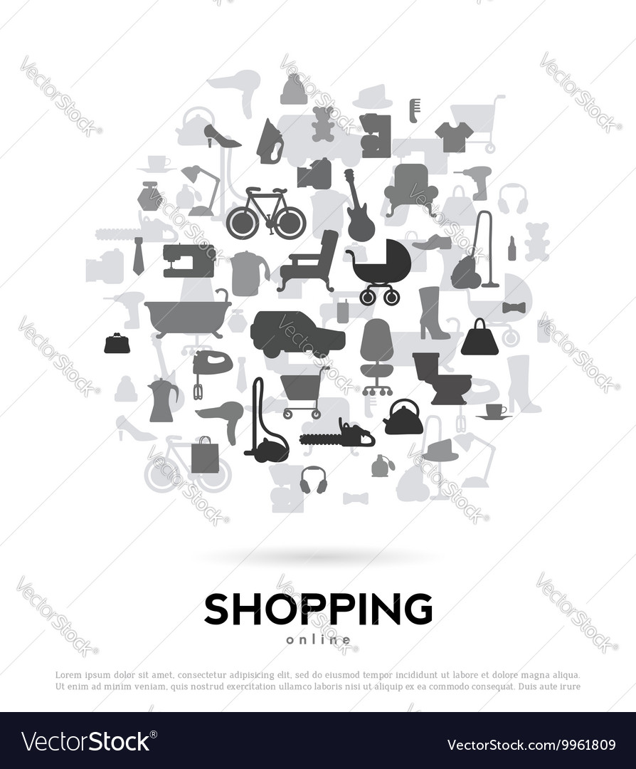 Shopping abstract background for advertising and vector image