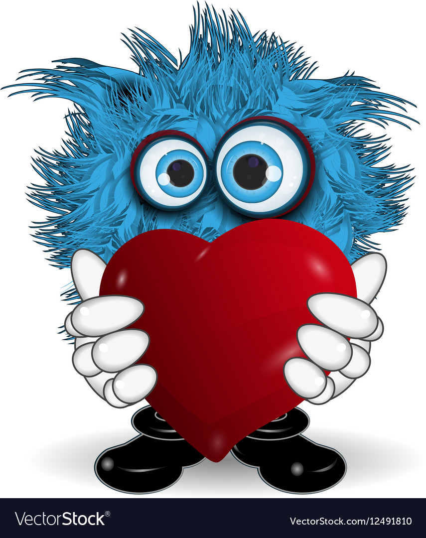 Blue Monster Keeps Heart vector image