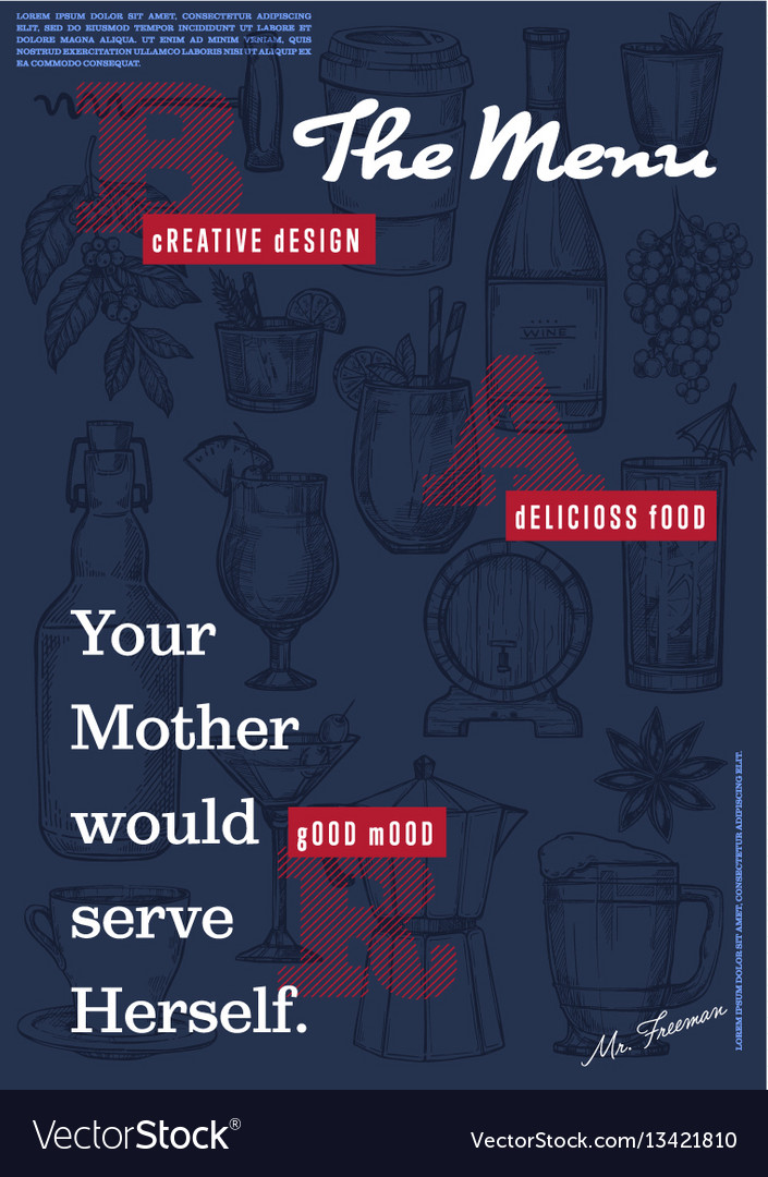 Restaurant or cafe menu cover page vector image