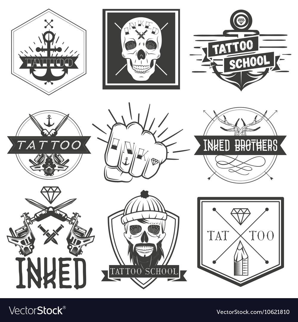 Set of tattoo school emblems logos vector image