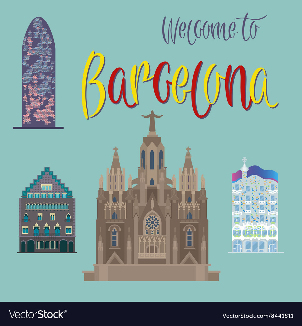 Barcelona Architecture Tourism Catalonia vector image