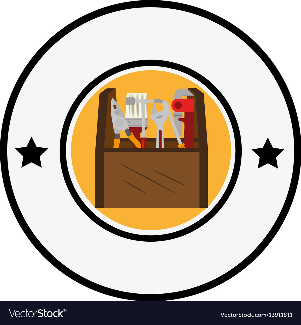 Circular border with color silhouette toolbox and vector image