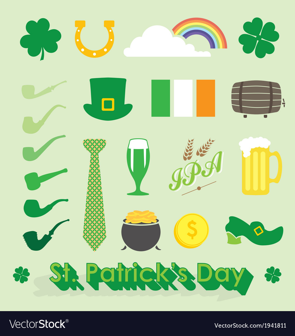 st patricks day icons and symbols royalty free vector image