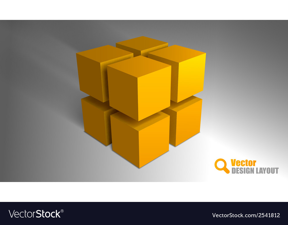 Cube orange vector image
