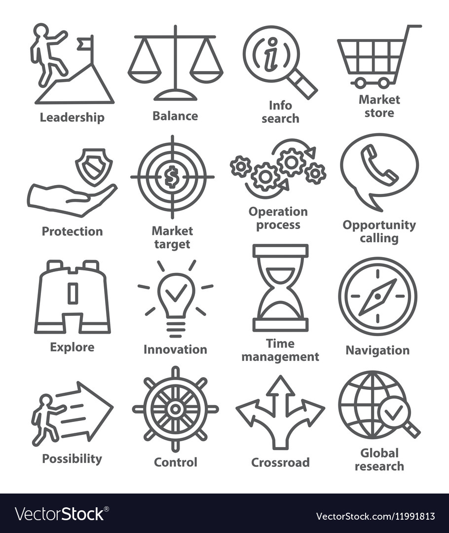 Business management icons in line style Pack 13 vector image