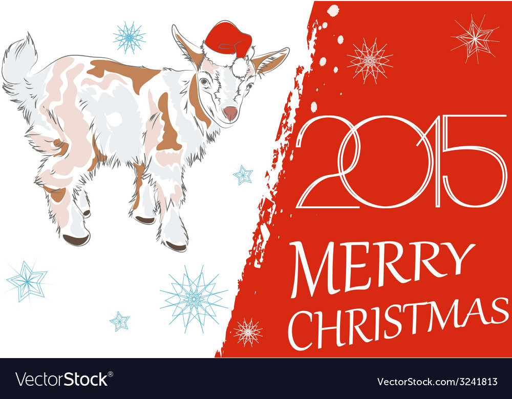New year 2015 and Merry Christmas greeting card wi vector image