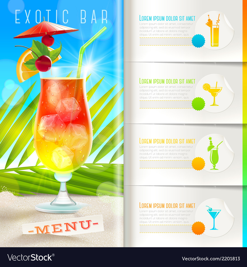 Tropical beach bar menu vector image