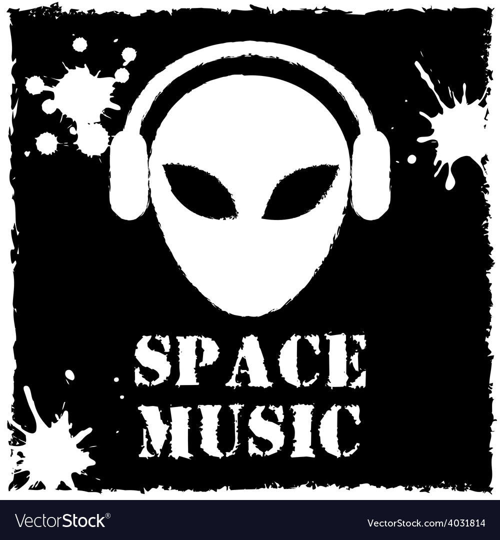Alien space music logo on black background vector image