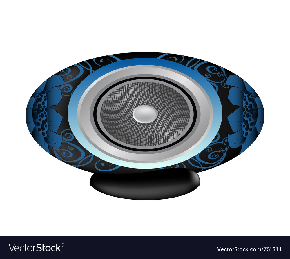 Black and blue audio speaker vector image