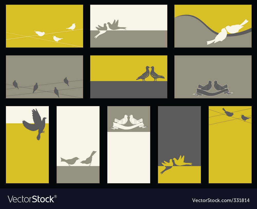 Card vector collection with birds vector image