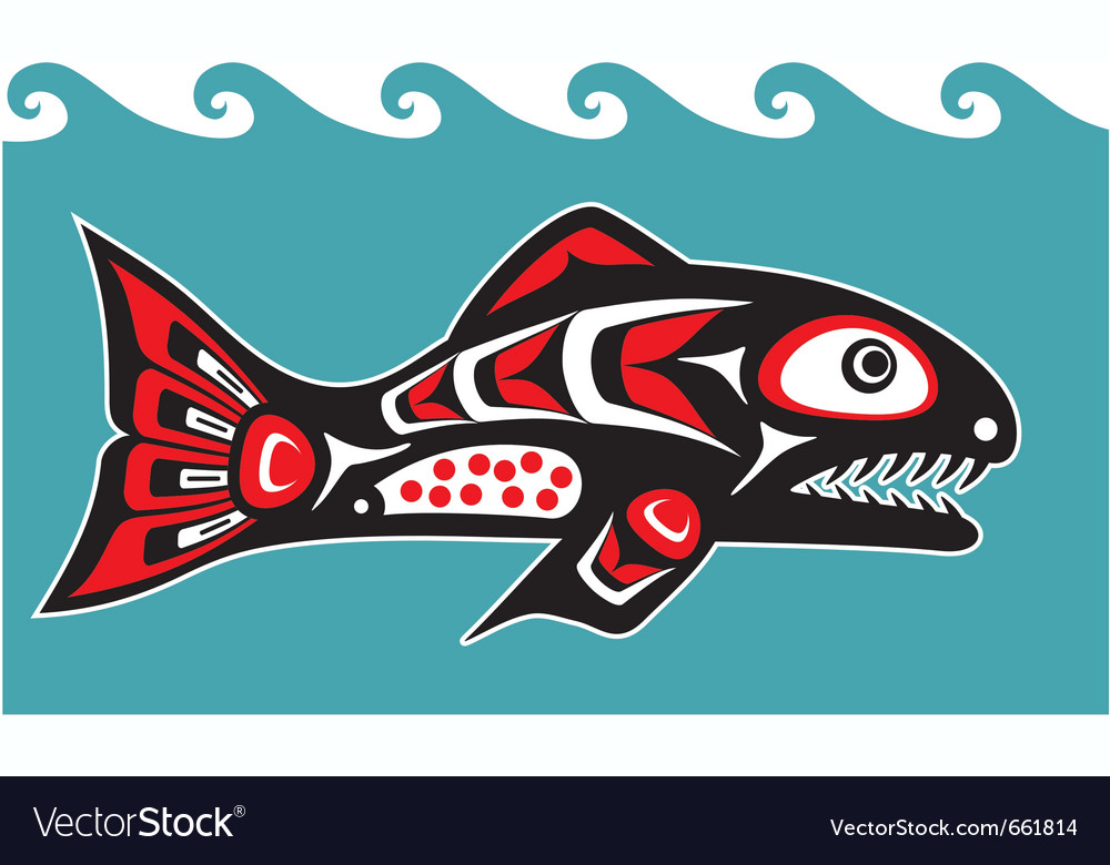 Fish - salmon - native american style vector image