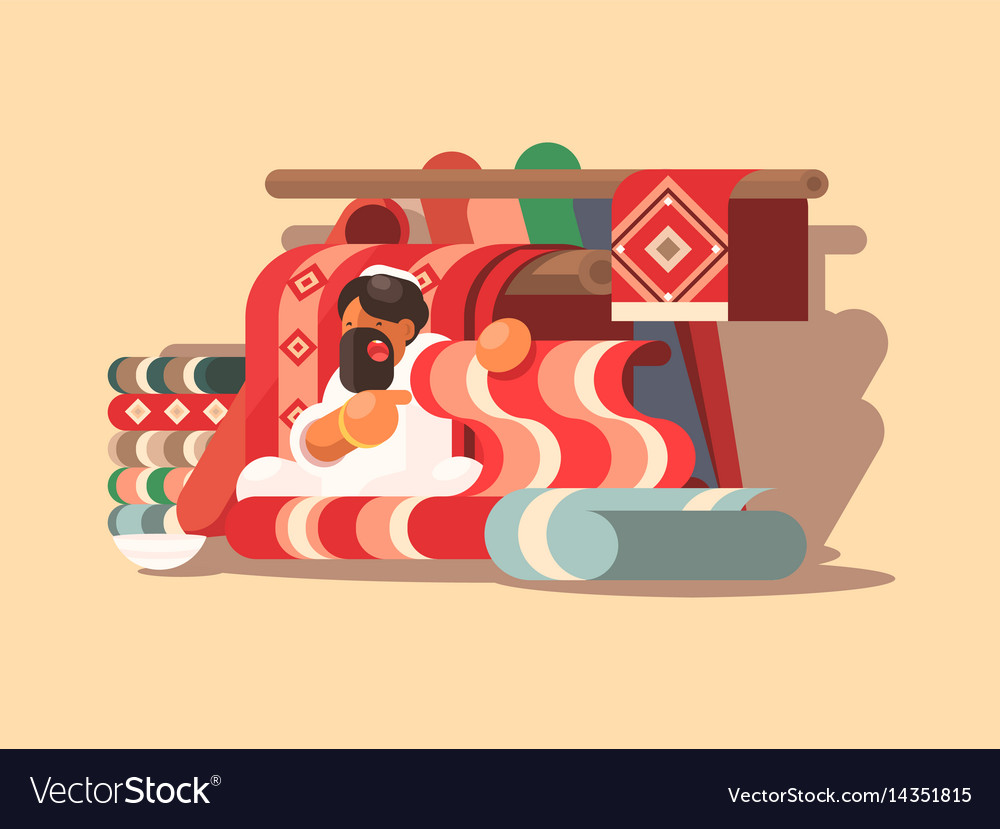 Seller of woolen carpets vector image