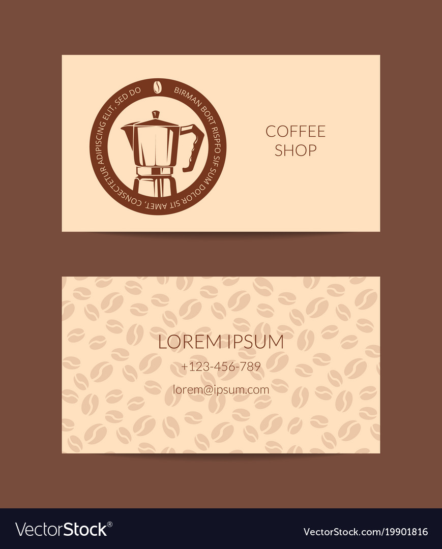 Coffee shop or company business card Royalty Free Vector