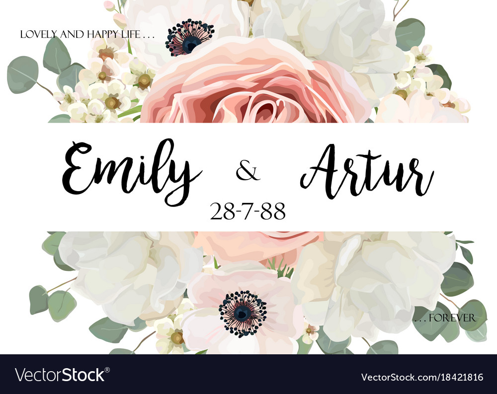 Floral wedding invitation invite save the date vector image