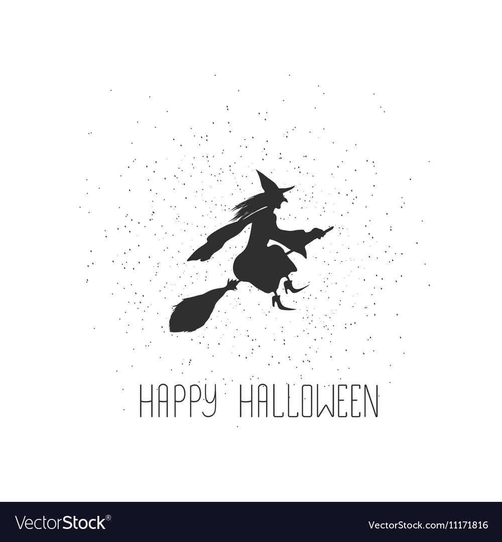 Halloween card with witch and text vector image