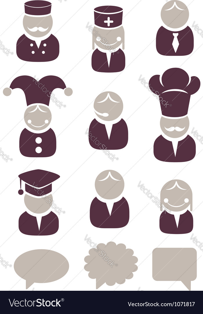 People profession icon set vector image