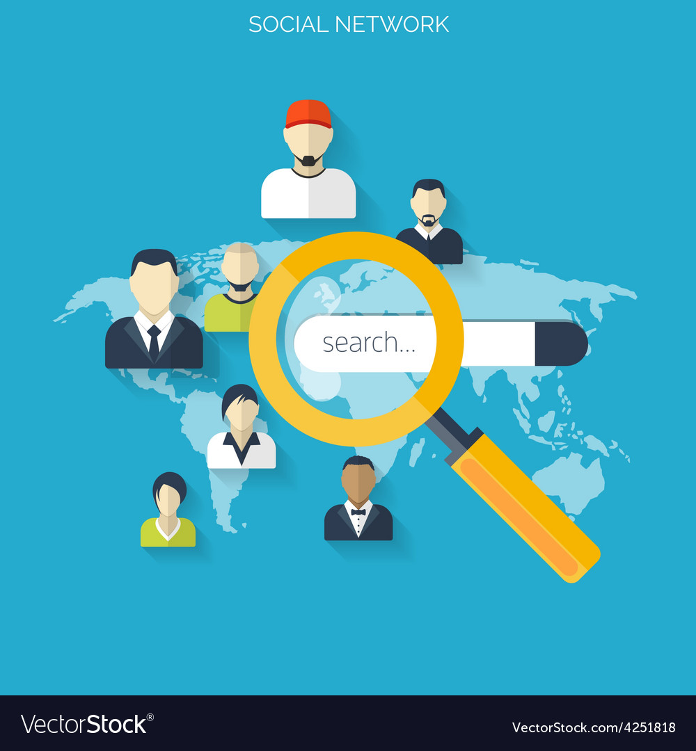 Flat loupe icon Social media Search engine vector image