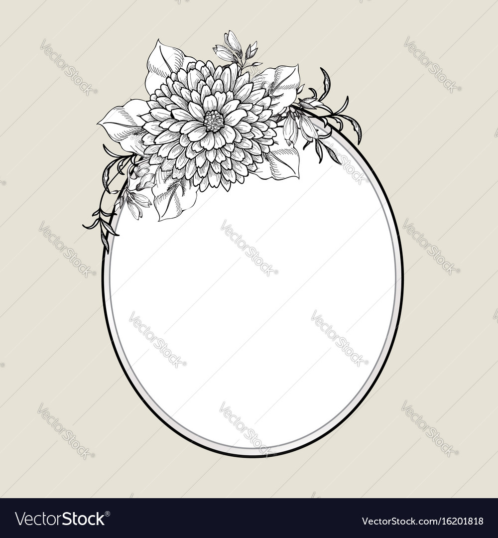 Floral frame flower greeting card border flourish vector image kristyandbryce Choice Image